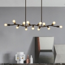Black Linear Island Light with Branch Design Modern Metal 13 Lights Multi Light Pendant for Kitchen