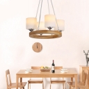Cylinder Hanging Light with Wooden Ring Frosted Glass 4/6/8 Heads Nordic Chandelier Lamp