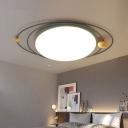 Drum Flush Lamp with Orbit Design Nordic Style Metal Led Indoor Flush Ceiling Light in Green/Grey/White, 21