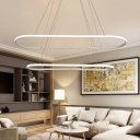 1/2 Lights Oval Chandelier Lamp Minimalist Metal White Hanging Pendant Light for Dining Room