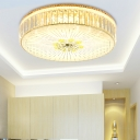 Drum Shade Crystal Flush Mount Ultra Modern Multi Light Flush Ceiling Light Fixture in Gold, 16