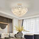Crystal and Steel Ceiling Light Modern 4 Light Bowl Semi Flush Mount Lighting for Living Room