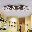 Modern Ring LED Ceiling Light Acrylic Flush Ceiling Light in Brown for Adult Bedroom Shop