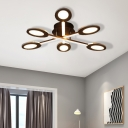 Crossed Lines Semi Flush Mount Lighting Modern Metal 3/4/5/7 Lights Ceiling Light Fixture in Brown