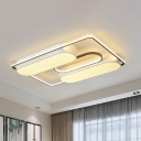 Linear Flush Mount Lamp with White Metal Shade Nordic Style Led Close to Ceiling Light in Warm/White Light, 19.5