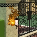Clear Glass Lantern Wall Light with Gold Deer Backplate 1 Light Rustic Wall Sconce Light