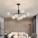 Black/Gold Sputnik Chandelier Modernism 9/13 Lights Bedroom Pendant Light with Orb Clear Glass Shade