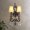 Traditional Scalloped Wall Sconce with Crystal Accents 2 Lights Beige Fabric Wall Lamp in Rust