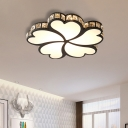 Metal Clover Flush Mount Lighting with Clear K9 Crystal Led Contemporary Ceiling Flush Light in Black/White