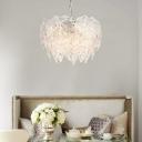 Clear Glass Round Chandelier Lamp Modern 6 Lights Foyer Pendant Lighting in Chrome