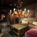 Vintage Flower Chandelier Lamp Metallic 6 Bulbs Gold Hanging Pendant Light for Living Room