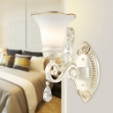 Flower Glass Shade Sconce Light Modern 1/2-Head Clear Crystal Wall Mounted Light in White for Bedroom