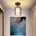 Conical/Cylindrical Shade Ceiling Flush Mount with Metal Cage Simple 1 Bulb Semi-Flushmount Lamp in Black Finish