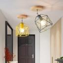 Gray/White/Pink/Yellow/Blue/Green Drum Ceiling Light Fixture Metal Modernist 1 Head Semi Flush Mount Ceiling Light for Bedroom