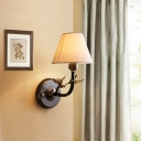Bedroom Tapered Wall Sconce Light Fabric Countryside 1 Bulb Wall Light Fixture in Antique Brass
