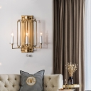 3/5 Lights Open Bulb Wall Mounted Light Metal Traditional Wall Lighting Fixture with Rectangle Backplate in Gold