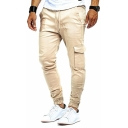 Classic Men's Solid Color Drawstring Waist Flap Pocket Casual Woven Pants