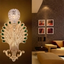 Golden Peacock Wall Light Fixture Modernist 1 Light Metal Wall Sconce with Crystal Bowl Shade for Bedside