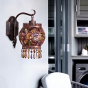 Metal Lantern Wall Sconce Bohemia 1 Light Wall Mount Light with Crystal Flower in Rose Copper