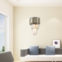 Stainless Steel Drum Sconce Contemporary 3 Lights Wall Lighting with Clear Crystal for Bedroom