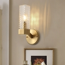 Cuboid Lattice Glass Wall Lamp Simple 1 Light Wall Mount Fixture in Brass for Living Room