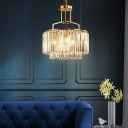 2 Tiers Clear Crystal Pendant Lighting Modern Luxury 3/5/8 Lights Hanging Chandelier in Gold