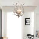 Crystal Chandelier Light with Leaf Design 4 Lights Modern Champagne Gold Ceiling Hanging Light