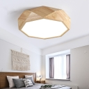 Contemporary Geometric Ceiling Lamp with Acrylic Diffuser LED Ceiling Flush Mount in Wood, 18