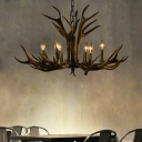 6/8/10/15 Bulbs Antlers Ceiling Pendant Light Vintage Resin Chandelier Lighting with Adjustable Chain in Black