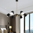 Nordic Drum Chandelier Lighting Black/White Metal Shade 6/8 Heads Pendant Lighting with Raidal Design