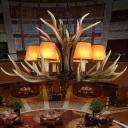6/8/10 Lights Conical Hanging Pendant Light Vintage Resin Ceiling Chandelier with Antlers Design in Light Brown