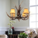 Conical Fabric Shade Pendant Lighting with Antlers Design Vintage 4/6/8/10 Heads Chandelier Lighting Fixture in Brown