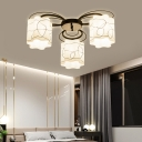 Scalloped Drum Ceiling Flush Lamp with Black Floral Backplate 3/6/9 Heads Traditional Opal Glass Semi Flushmount
