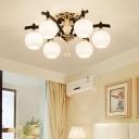 Sphere Semi Flush Lighting with Sputnik Design 6/8/10 Lights Vintage Semi Flush Ceiling Light in Black
