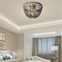 Black Crystal Beaded Flush Mount Light Country Style 3 Lights Flush Ceiling Light in Brass