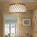 Traditional Chicken Wire Pendant Lighting wtih Clear Crystal Bead 3 Lights Hanging Ceiling light in Bronze