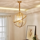 Metal Global Hanging Lamp with Clear Crystal Accents 5 Lights Modern Bedroom Pendant Light in Gold