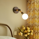Nordic Globe Sconce Lighting 1 Light White/Ocean Blue Glass Shade Adjustable Wall Lamp in Black