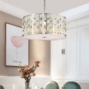 Chrome Finish Drum Chandelier Light Modern Crystal Chain Hung Pendant for Kitchen Dining
