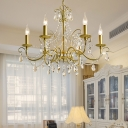 Mid-Century Candle Chandelier Pendant Light Crystal 3/6/8 Lights Chandelier Lamp in Gold for Indoor