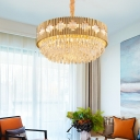 6/10/12 Light Geometric Hanging Pendant Light Modern Quality Crystal Chandelier Light Fixture in Gold for Indoor