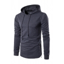 Simple Plain Long Sleeve Side Zipper Hem Drawstring Hoodie for Men