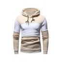 Mens Simple Color Spliced Long Sleeve Pullover Hoodie