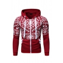 Ethnic Style Geometric Pattern Print Long Sleeve Stylish Zipper Hoodie with Pocket