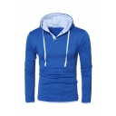 Men Fashion Contrast Trim Drawstring Hood Button Front Long Sleeve Pullover Hoodie