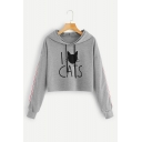 Womens Cute CATS Print Colorblocked Stripe Long Sleeve Cropped Hoodie