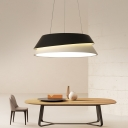 Black and White Tapered Hanging Lamp Minimalist Metal LED Pendant Lighting in Warm/White