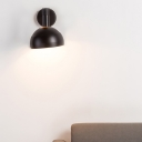 Black/Grey/White Dome Wall Sconce Modern Simple 1 Light Wall Lighting with Metal Shade