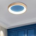 Blue/Green Round Flush Mount Lighting Modern Acrylic Creative Flush Mount Light with Wooden Rim for Bedroom