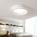 Modern Unique Round Ceiling lights Flush Mount 1 Light Flush Mount Ceiling Lights in White for Bedroom